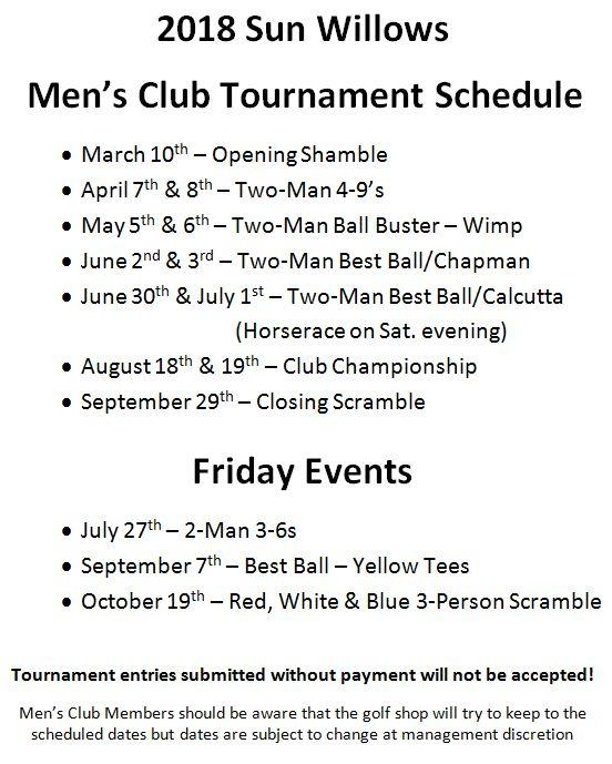 2018 Mens Club Schedule