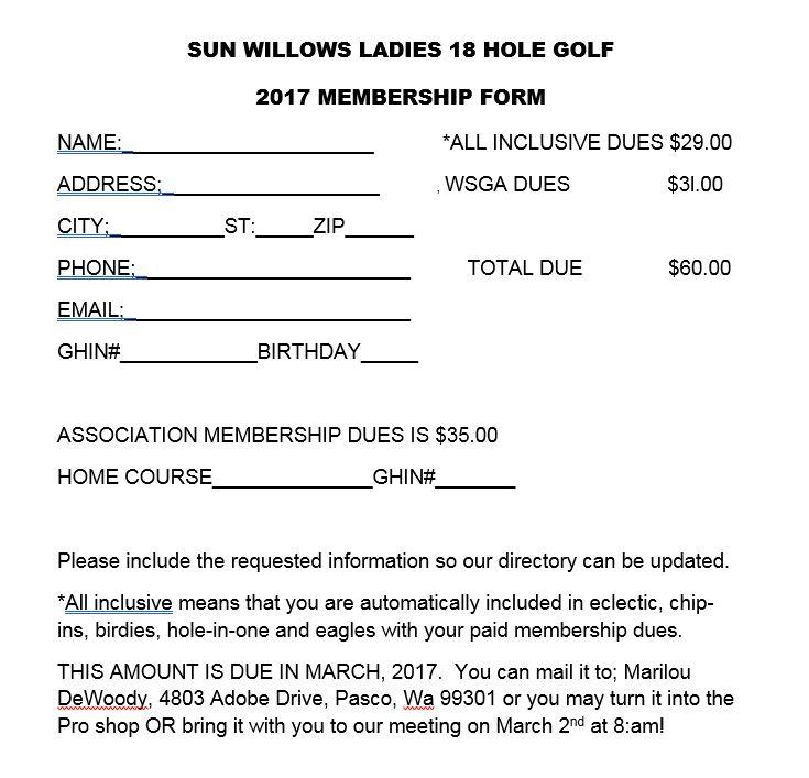 Sun Willows Ladies Club Form